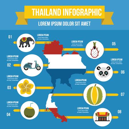 タイ旅行インフォ グラフィック コンセプト、フラット スタイル