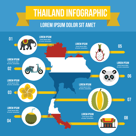 Thailand travel infographic concept, flat style