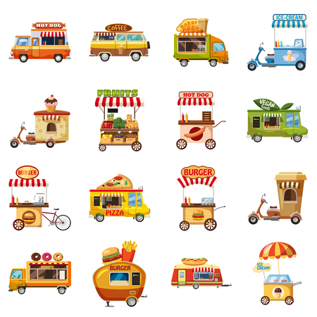 Street food kiosk icons set, cartoon style Illustration