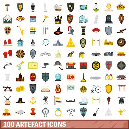 catapult: 100 artefact icons set, flat style Illustration