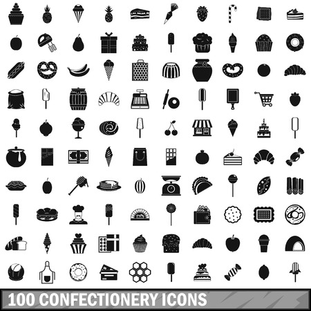 100 confectionery icons set, simple style