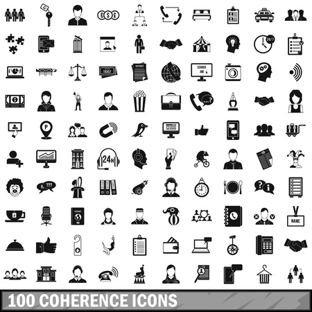 coherence: 100 coherence icons set, simple style