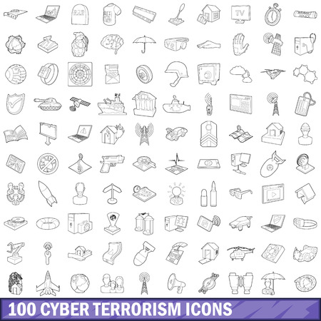 cyber terrorism: 100 cyber terrorism icons set, outline style