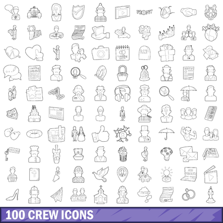 flight crew: 100 crew icons set, outline style