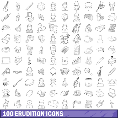 100 erudition icons set, outline style