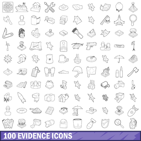 100 evidence icons set, outline style