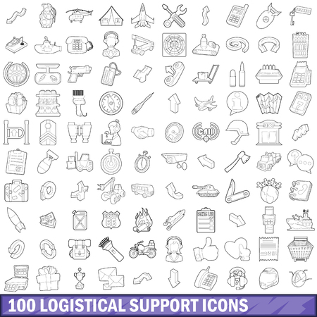 100 logistical support icons set, outline style Illusztráció
