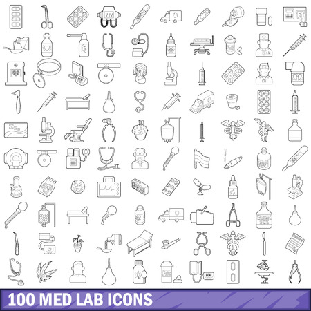 effectiveness: 100 med lab icons set, outline style