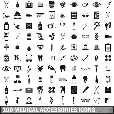 eyepiece: 100 medical accessories icons set, simple style Illustration