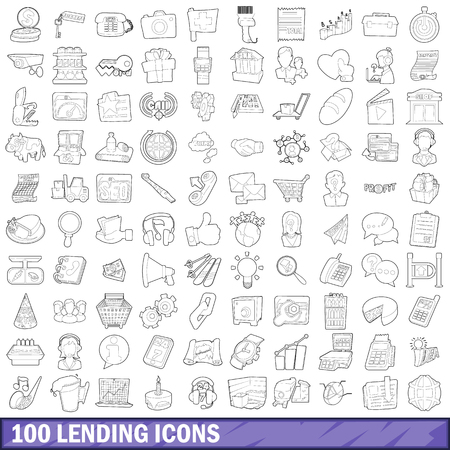 lend: 100 lending icons set, outline style
