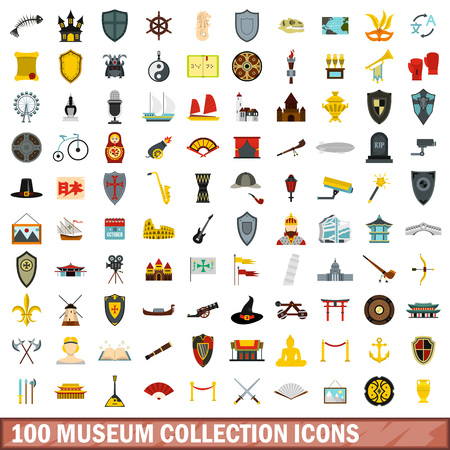 100 museum collection icons set, flat style