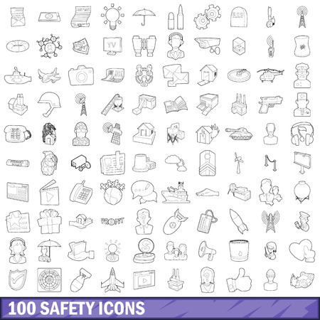 100 safety icons set in outline style for any design vector illustration