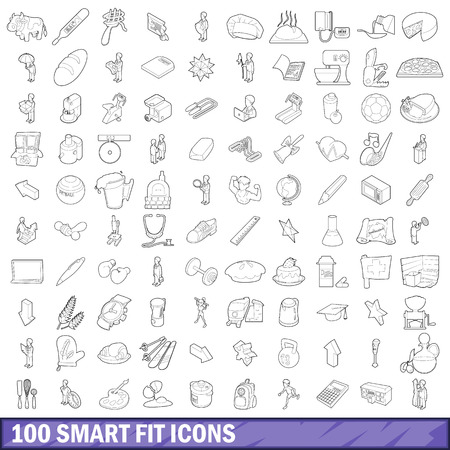 100 smart fit icons set in outline style for any design vector illustration
