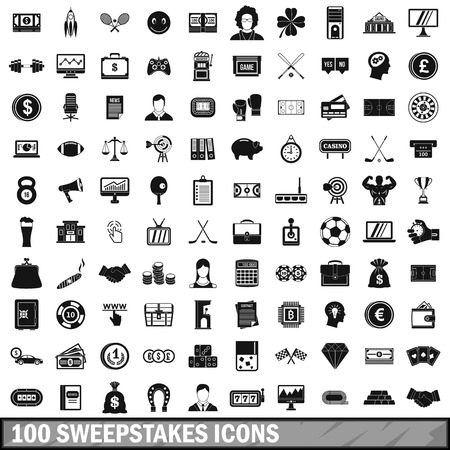 100 sweepstakes icons set in simple style for any design vector illustration