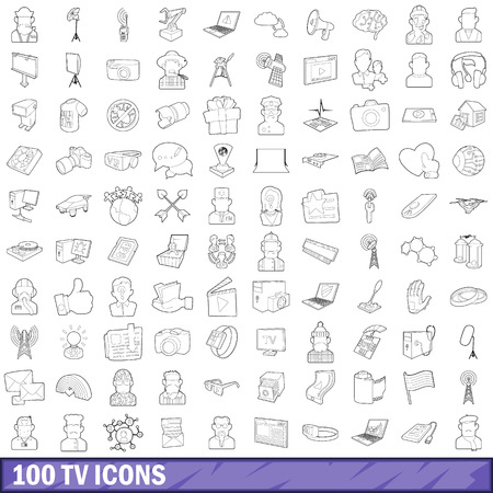 lcd tv: 100 tv icons set in outline style for any design vector illustration