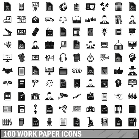file clerk: 100 work paper icons set in simple style for any design vector illustration