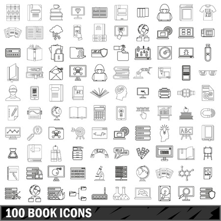 100 book icons set, outline style Illustration