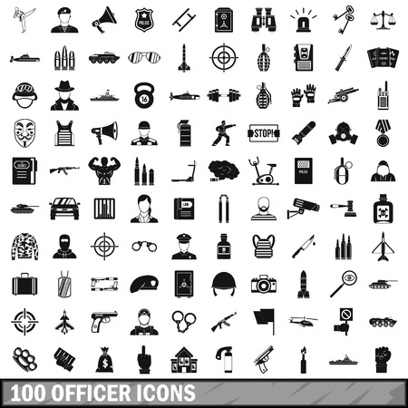 scale of justice: 100 officer icons set in simple style for any design vector illustration