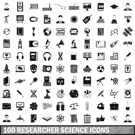 analyst: 100 researcher science icons set in simple style for any design vector illustration Illustration