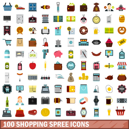 purchasing manager: 100 shopping spree icons set in flat style for any design vector illustration Illustration