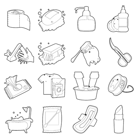 hygien: Hygiene cleaning icons set. Outline illustration of 16 hygiene cleaning vector icons for web