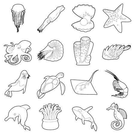Ocean animals fauna icons set. Outline illustration of 16 ocean animals fauna vector icons for web