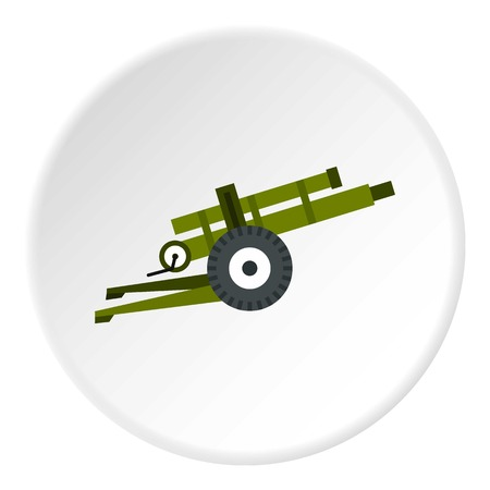 Artillery gun icon in flat circle isolated on white background vector illustration for web Illustration