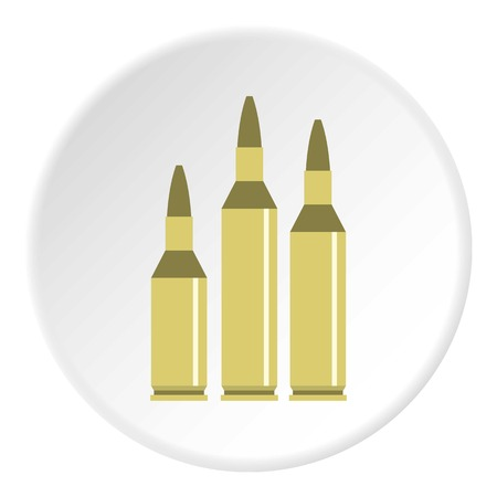 Bullet ammunition icon in flat circle isolated on white background vector illustration for web