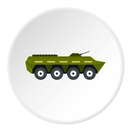 Armoured troop carrier icon in flat circle isolated on white background vector illustration for web Illustration
