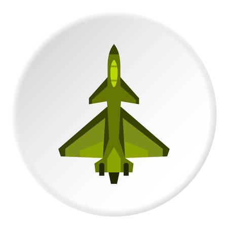 Military fighter jet icon in flat circle isolated on white background vector illustration for web