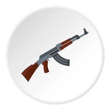 detailed shot: Submachine gun icon in flat circle isolated on white background vector illustration for web