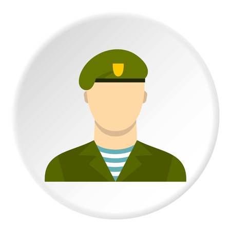 Army soldier icon in flat circle isolated on white background vector illustration for web