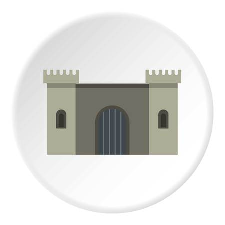 citadel: Ancient fortress icon in flat circle isolated on white background vector illustration for web Illustration