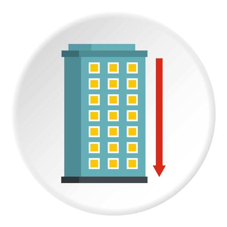 down town: Building and red down arrow icon in flat circle isolated on white background vector illustration for web