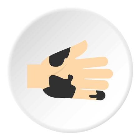 tough: Hand with dirty stains icon in flat circle isolated on white background vector illustration for web