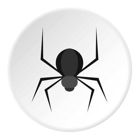 Black spider icon in flat circle isolated on white background vector illustration for web Illustration