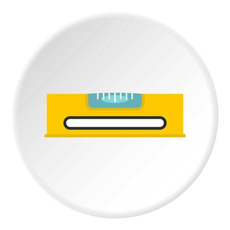 spirit level: Yellow working tool bubble level icon in flat circle isolated on white vector illustration for web