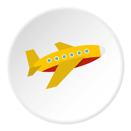 Plane icon in flat circle isolated on white background vector illustration for web