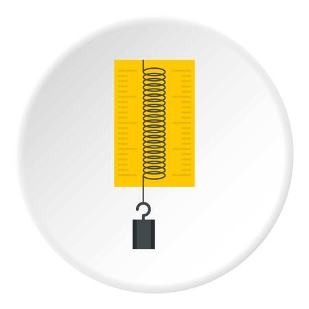 spring balance: A Dynamometer with weights icon in flat circle isolated on white vector illustration for web.