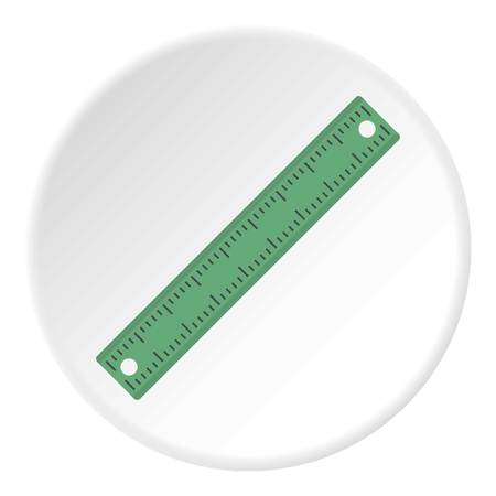 Ruler, rectangular shape icon in flat circle isolated on white vector illustration for web Illustration