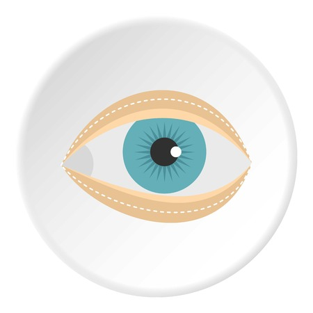 surgical removal: Blepharoplasty icon in flat circle isolated on white vector illustration for web