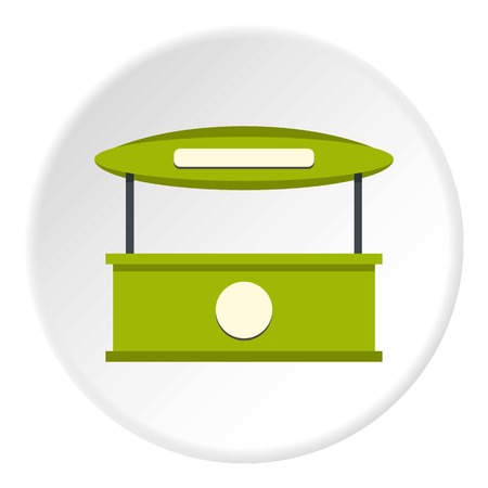 Green tent shop icon in flat circle isolated on white vector illustration for web