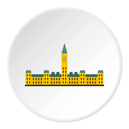 Parliament Hill, Ottawa icon in flat circle isolated on white vector illustration for web