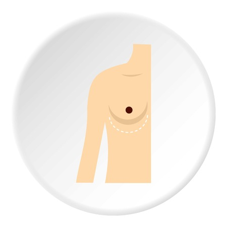 Woman breast marked with lines for breast modification icon in flat circle isolated