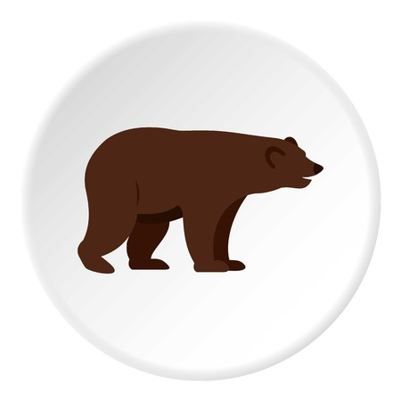 colorado rocky mountains: Grizzly bear icon in flat circle isolated on white vector illustration for web Illustration