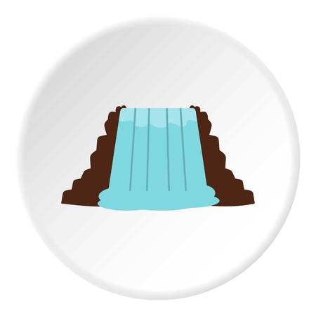 Niagara Falls, Ontario, Canada icon in flat circle isolated on white vector illustration for web