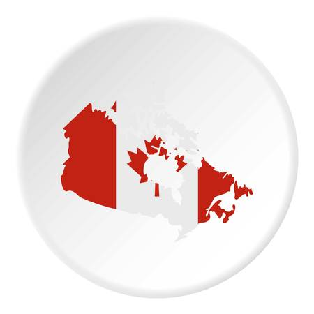 Map of Canada in national flag colors icon in flat circle isolated on white vector illustration for web Illustration