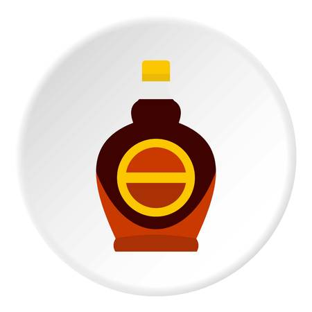 Bottle of maple syrup icon in flat circle isolated on white vector illustration for web