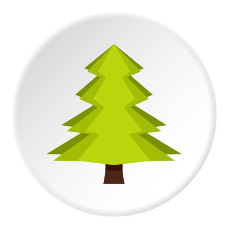 Fir icon in flat circle isolated