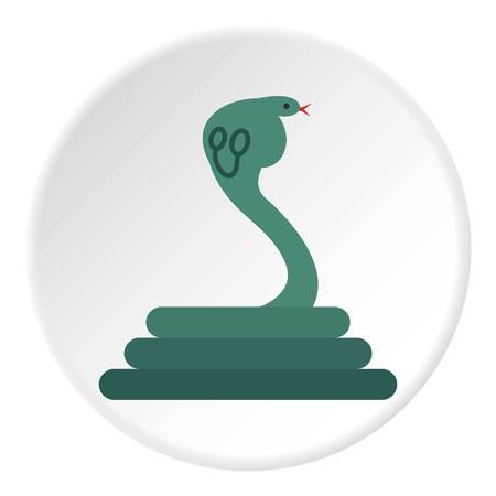Cobra icon in flat circle isolated on white vector illustration for web Illustration